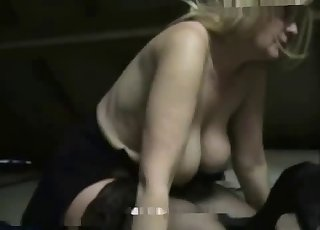 Busty blonde zoofil plays with huge doggy
