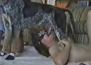 Masked chick sucking her own doggy