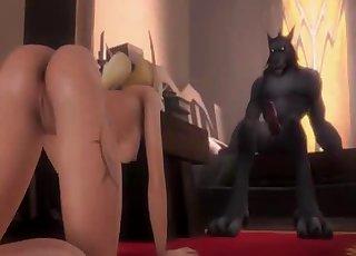 3D demon bangs a glamorous sex queen