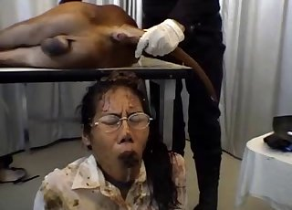 Awesome turd on the face of a passionate Asian