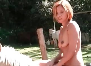 Beauty model poses fully naked on a hot stallion