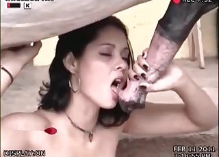 Black-haired tart is swallowing an animal cock