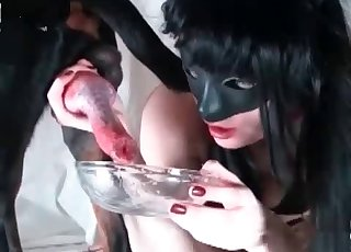 This dirty bi-atch is swallowing her doggy cum