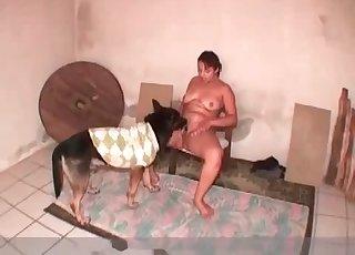 Fatty bitch impaled by her doggy