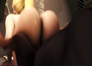 3D beauty with a big ass rides dog's cock