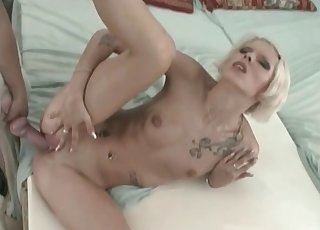 Slender blonde hottie fucked by her doggy